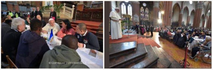 bergoglio profanando la Iglesia en bolonia