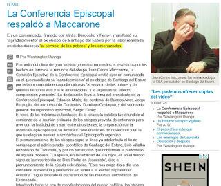 conferencia episcopal argentina respaldo al pedofilo maccarone